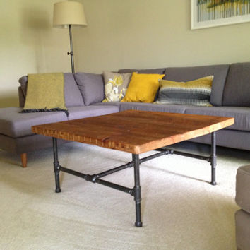 "Wood Coffee table with steel pipe legs made of reclaimed wood, Standard 1.65"" top, x 30"" L x 30"" w x 18"" tall"