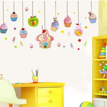 candy cake wall stickers decals ice cream food adesivo parede wallpaper kids home store window happy birthday party decorations