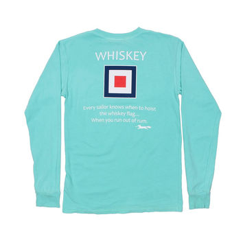 Long Sleeve Whiskey Flag Tee in Chalky Mint by Country Club Prep - FINAL SALE