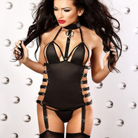 Sexy Women Lingerie Hollow Out Teddies Erotic Bandage Underwear Gothic Halter Bodysuit Stripper Nightclub Party Costume free shipping worldwide