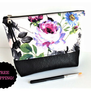 Large Makeup Bag Black, Floral Makeup Bag, Large Floral Pouch, Large Zipper Pouch, Bridesmaid Gift