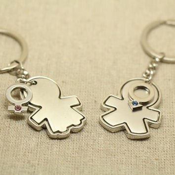 2pcs Free Engraving, His and Hers Personalized Puzzle Piece Keychain, couples keychain