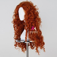 Miss U Hair Women Fluffy Long Reddish Copper Brown Color Curly Hair Halloween Cosplay Costume Wig Adult