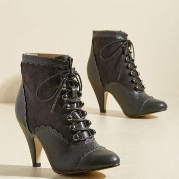 Distinguish Granted Bootie in Charcoal | Mod Retro Vintage Boots | ModCloth.com