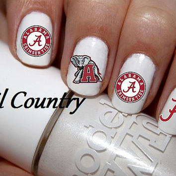 50pc Alabama Crimson Tide Nail Decals Nail Art Nail Stickers Best Price On Etsy NC192