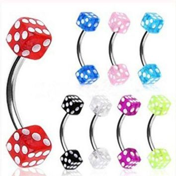 ac PEAPO2Q Isayoe 1Piece Free Shipping 16G Stainlessl Steel eyebrow Ring Colorful Dice eye rings promotion Body Piercing Jewelry