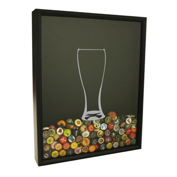 Beer Cap Collector Shadow Box - Beer Glass Design