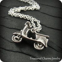 Vespa Motor Scooter Necklace, Silver Vespa Charm on a Silver Cable Chain