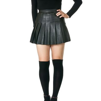 Leather Pleated Tennis Mini Skirt