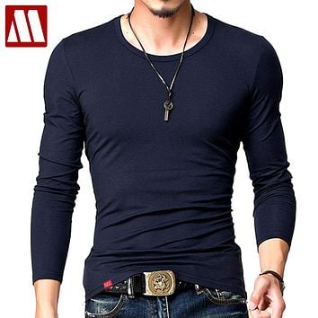 Hot 2017 New Spring Fashion Brand O-Neck Slim Fit Long Sleeve T Shirt Men Trend Casual Mens T-Shirt Korean T Shirts 4XL 5XL A005