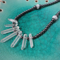 Crystal Quartz Raw Point Bib Necklace/Hematite Chain/Austrian Crystal Sterling Silver Beads