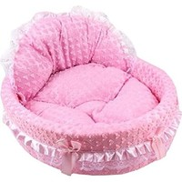 Small Coral Fleece Lace Heart-shapes Princess Cat Dog Pet Beds (Pink)