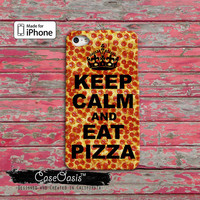 Keep Calm and Eat Pizza Pepperoni Funny Crown Food For iPhone 4 and 4s Case and iPhone 5 and 5s and 5c Case iPhone 6 and iPhone 6 Plus +
