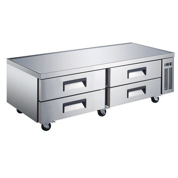 """Commercial Kitchen Refrigerated Chef Base 72"""" with 4 Drawers"""