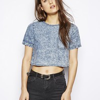 Influence Cropped Boxy Denim Top