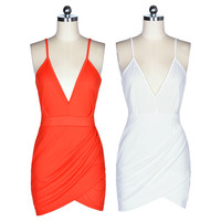Deep V-neck Backless Sleeveless Strap Party Dress