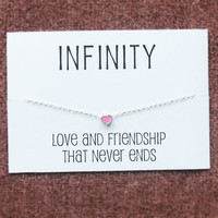Love and Friendship Gift Card Alloy Silver Toned Pink Heart Pendant Necklace