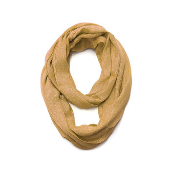 Tan & Gold Metallic Infinity Scarf