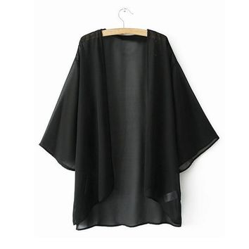 Women's Chiffon Summer Style Kimono Cardigan.   In Sizes Small to 5XL.   Colors: Yellow, Black and White.   ***FREE SHIPPING***