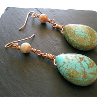 Earrings Turquoise Briolette Copper and Red Marble semi precious dangles