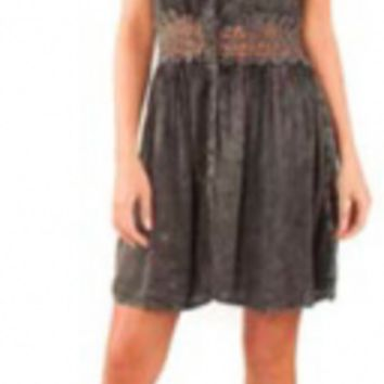 Women's Distressed Charcoal Crochet Tank Top Dress