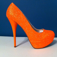 NEON Orange Glitter Heels - HOT Summer Color - Sparkle Pumps