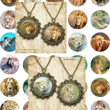 African Lions Pencil Drawing Art - - Digital Collage Sheets - 1.5 inch Circles for Jewelry Makers, Party Favors, Wedding Projects, Crafts