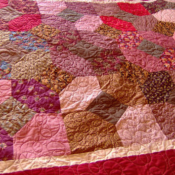 Twin Size Bed Quilt in Reds and Browns