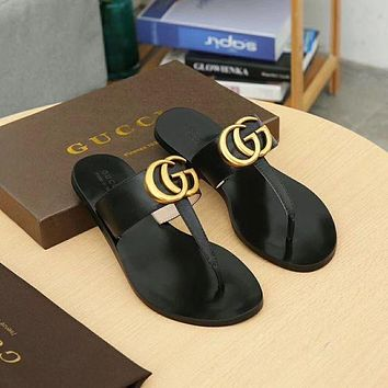Black Gold Gucci GG Slides Slippers