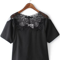 Black Short Sleeve Embroidered Mesh Crop Top