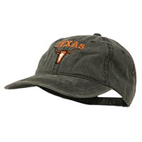 Texas Longhorn Embroidered Washed Cap - Black