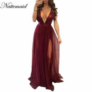 NATTEMAID 2017 New year Sexy Women Red Dress Fashion Brand new Maxi long mesh Dresses vintage Floor length sequin Vestidos