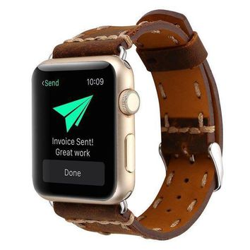Kobwa 38mm/42mm Watch Band For Apple Watch West Cowboy Style Watchband Vintage Cowhide Strap Luxury Genuine Leather Single Tour Replacement For Iwatch Series 1 Series 2 Series 3