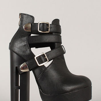Strappy Buckle Cutout Heeled Platform Booties