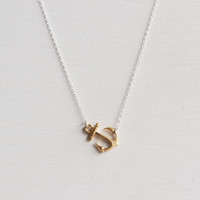 Gold Anchor Necklace - Sterling Silver