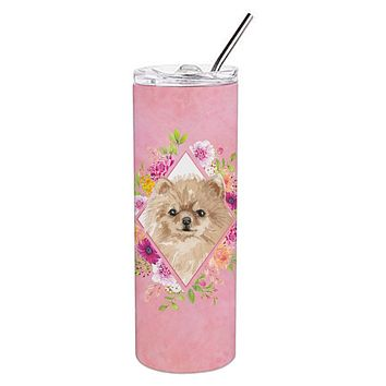 Pomeranian Pink Flowers Double Walled Stainless Steel 20 oz Skinny Tumbler CK4219TBL20