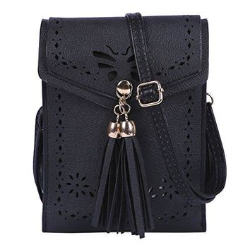 HDE Small Crossbody Pouch Purse Tassel Travel Phone Wallet Vintage Leather Bags