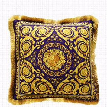"""Gold Blue Flower Pillow Embellished With Trim 20""""X20"""""""