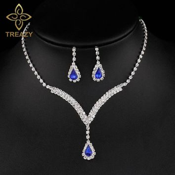 TREAZY Royal Blue Crystal Bridal Jewelry Sets V Shaped Teardrop Choker Necklace Earrings Wedding Jewelry Sets for Women