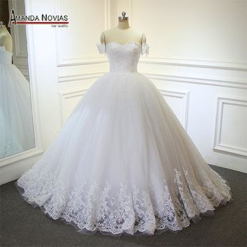 mariage robe Boat Neck Lace Appliques Wedding Dress with Detachable Sleeves