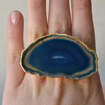 ON SALE SUNSHINE Daydream /// Size 9 /// Agate Slice Ring /// Electroformed 24kt Gold