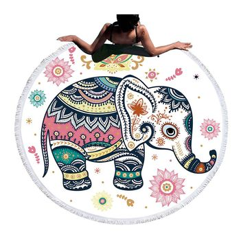 BeddingOutlet Floral Boho Round Beach Towel Indian Elephant Tassel Tapestry Yoga Mat Colorful Printed Toalla Blanket