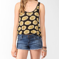 Sunflower Print Lace Back Top