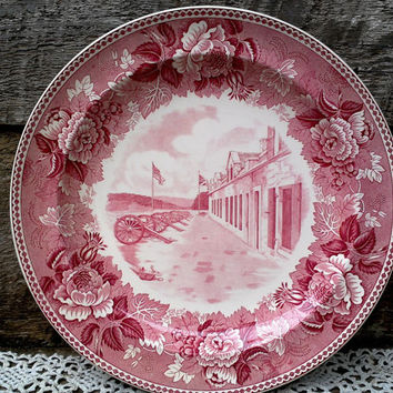 "Historical Dinner Plate Red Transferware Fort Ticonderoga, Lake Champlain, New York 10 1/8"", WEDGWOOD, Floral, Canons, French, Wall Decor"