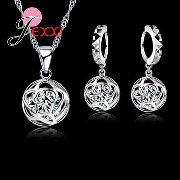 Jemmin New Arrival Romantic Rose Shape 925 Sterling Silver Cubic Zirconia Necklace Earrings Jewelry Sets For Wedding Accessories