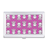 Kawaii Pink Bunny Pattern Business Card Case