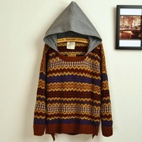 Retro Hit Color Embroidered Big Yards Sweater