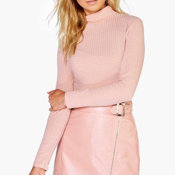 Aria Buckle Front Zip Detail Leather Look Mini Skirt