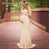 Kidsweety Women Lace Dresses Sexy Photography Props Long Maxi Dress Women Dress Maternity Gown Wedding Shooting Dress Plus Size