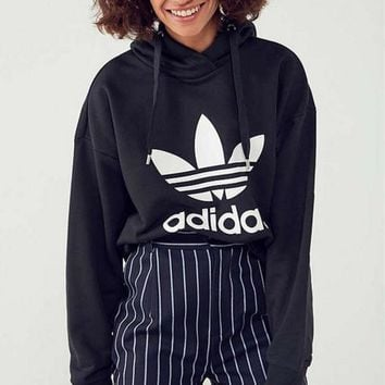 Fashion Adidas Print Hooded Pullover Tops Sweater Sweatshirts BLACK